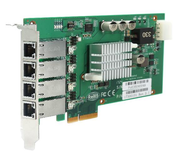 PCIe-3504PoE 图像采集卡SMT贴